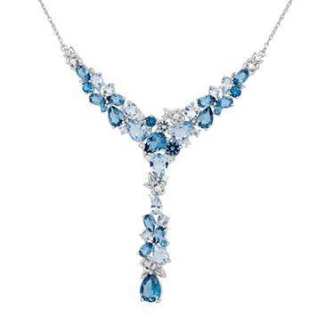 David Tutera Sterling Silver Simulated Blue Topaz & Cubic Zirconia Y Pendant