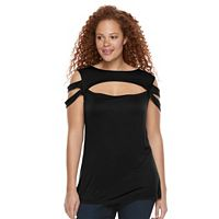 Plus Size Rock & Republic® Strappy Cold-Shoulder Top