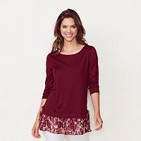 Women's LC Lauren Conrad Mock-Layer Pleated Tunic