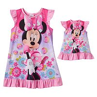 Disney's Minnie Mouse Toddler Girl Dorm Nightgown & Doll Dress Set
