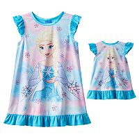 Disney's Frozen Elsa Toddler Girl Down Nightgown & Doll Gown Set