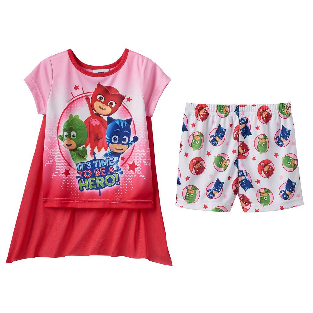 Toddler Girl PJ Masks Catboy, Gekko & Owlette 3-pc. Cape Pajama Set