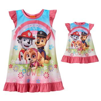 Toddler Girl Paw Patrol Skye, Chase & Marshall Dorm Nightgown & Doll Dress Set
