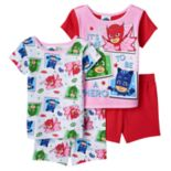 Toddler Girl PJ Masks 4 pc Owlette, Gekko & Catboy Pajama Set