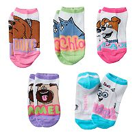 Girls 4-16 DreamWorks The Secret Life of Pets Duke, Chloe & Mel 5 pkNo-Show Socks