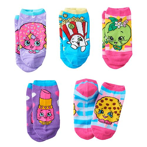 Girls 4-16 Shopkins Poppy Corn, Apple Blossom & Lippy Lips 5-pk. No-Show Socks