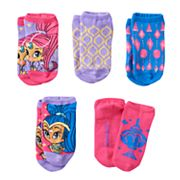 Girls 4-16 Shimmer & Shine 5 pkNo-Show Socks