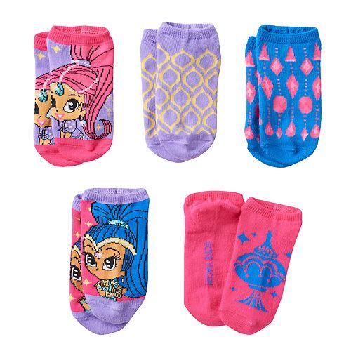 Girls 4-16 Shimmer & Shine 5-pk. No-Show Socks