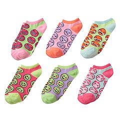 Girls 4-16 Emoji Face 6 pkNo-Show Socks