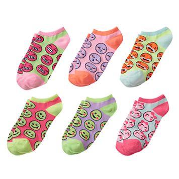 Girls 4-16 Emoji Face 6-pk. No-Show Socks