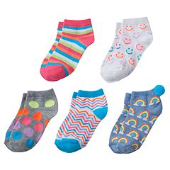 Girls 4-16 Pom Pom Graphic 5-pk. Crew Socks