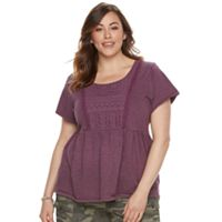 Plus Size SONOMA Goods for Life™ Embroidered Peplum Tee