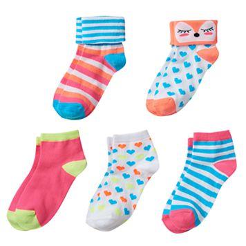 Girls 4-16 Fox & Striped Cuffed 5-pk. Crew Socks
