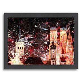 """Americanflat """"Munchen Silvester Feuerwerk"""" Framed Wall Art"""