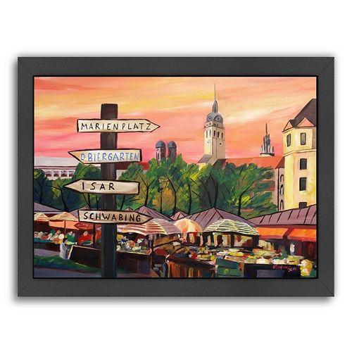 """Americanflat """"Munich Viktualienmarkt"""" Framed Wall Art"""