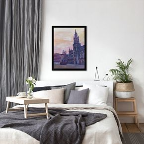 """Americanflat """"Munich Marienplatz With Church Of Our Lady At Sunset"""" Framed Wall Art"""
