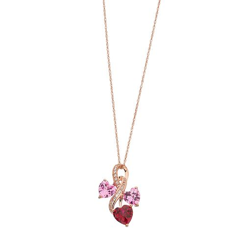 14k Rose Gold Over Silver Lab-Created Ruby & Lab-Created Pink Sapphire Infinity Heart Pendant Necklace