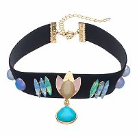 Simulated Turquoise Teardrop Choker Necklace