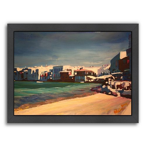 Americanflat ''Mykonos Greece Little Venice Seascape'' Framed Wall Art