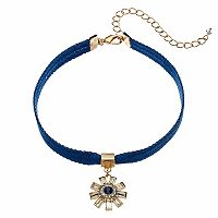Blue Ribbon Art Deco Starburst Choker Necklace