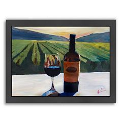 Americanflat ''Napa Valley Wine Bottle and Glass'' Framed Wall Art