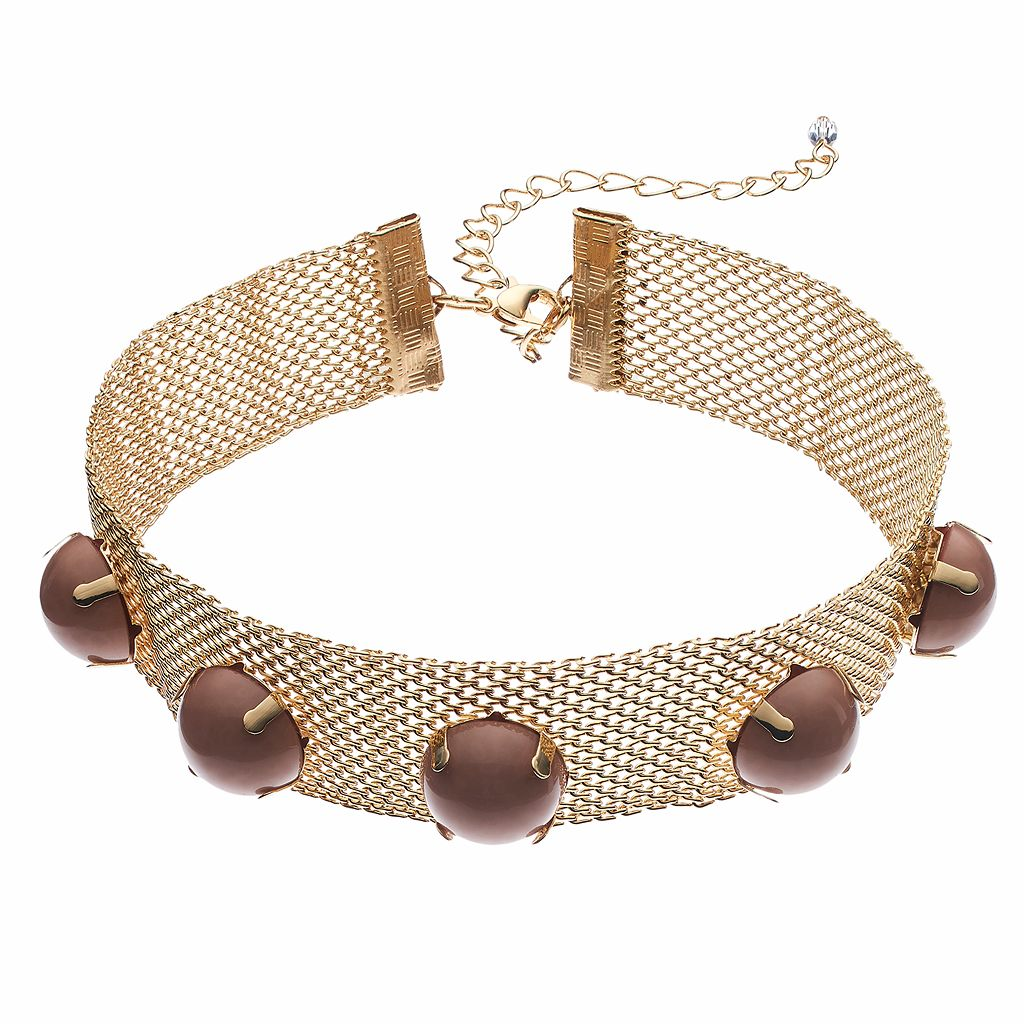 Pink Round Cabochon Mesh Choker Necklace