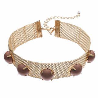 Pink Round Cabochon Mesh Choker Necklace