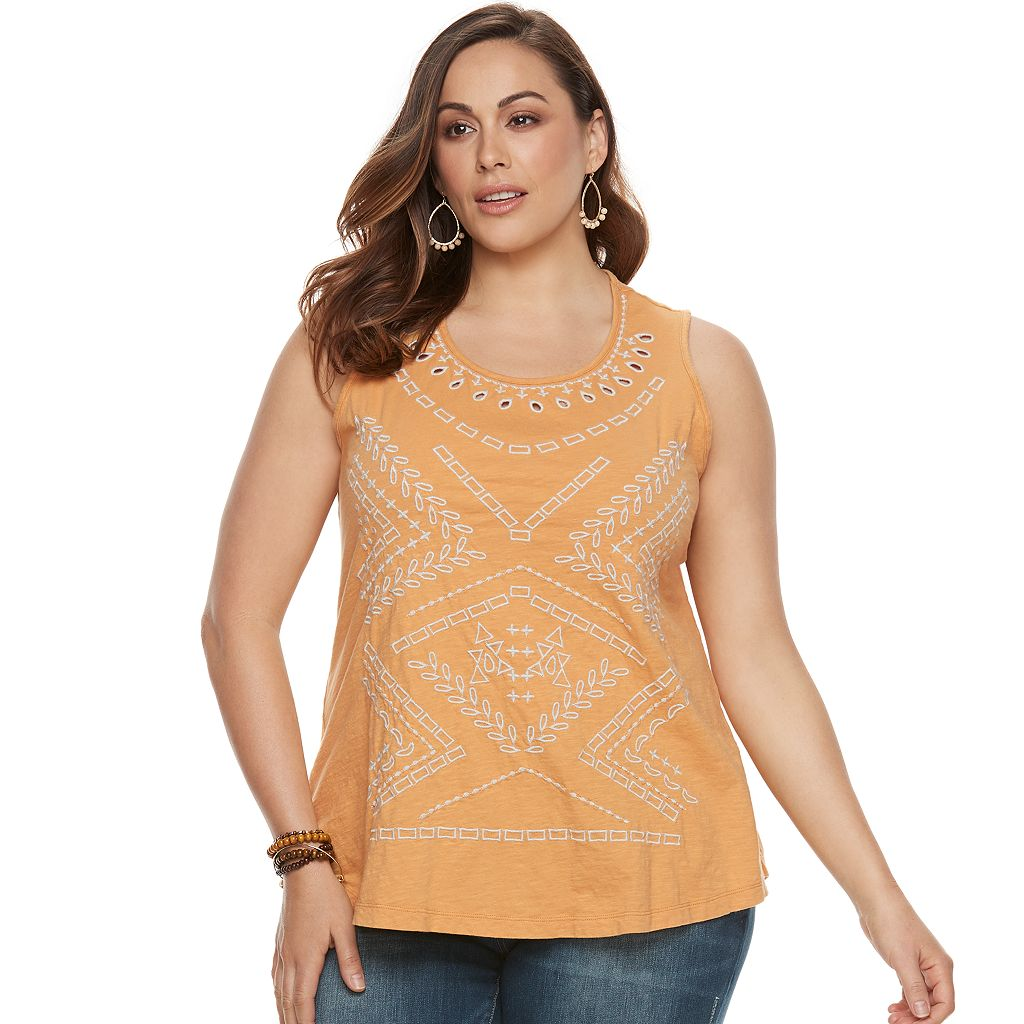 Plus Size SONOMA Goods for Life™ Embroidered Eyelet Tank