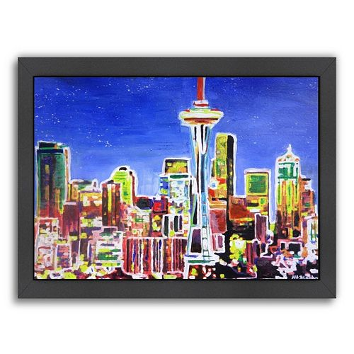 Americanflat ''Neon Shimmering Seattle Skyline'' Framed Wall Art