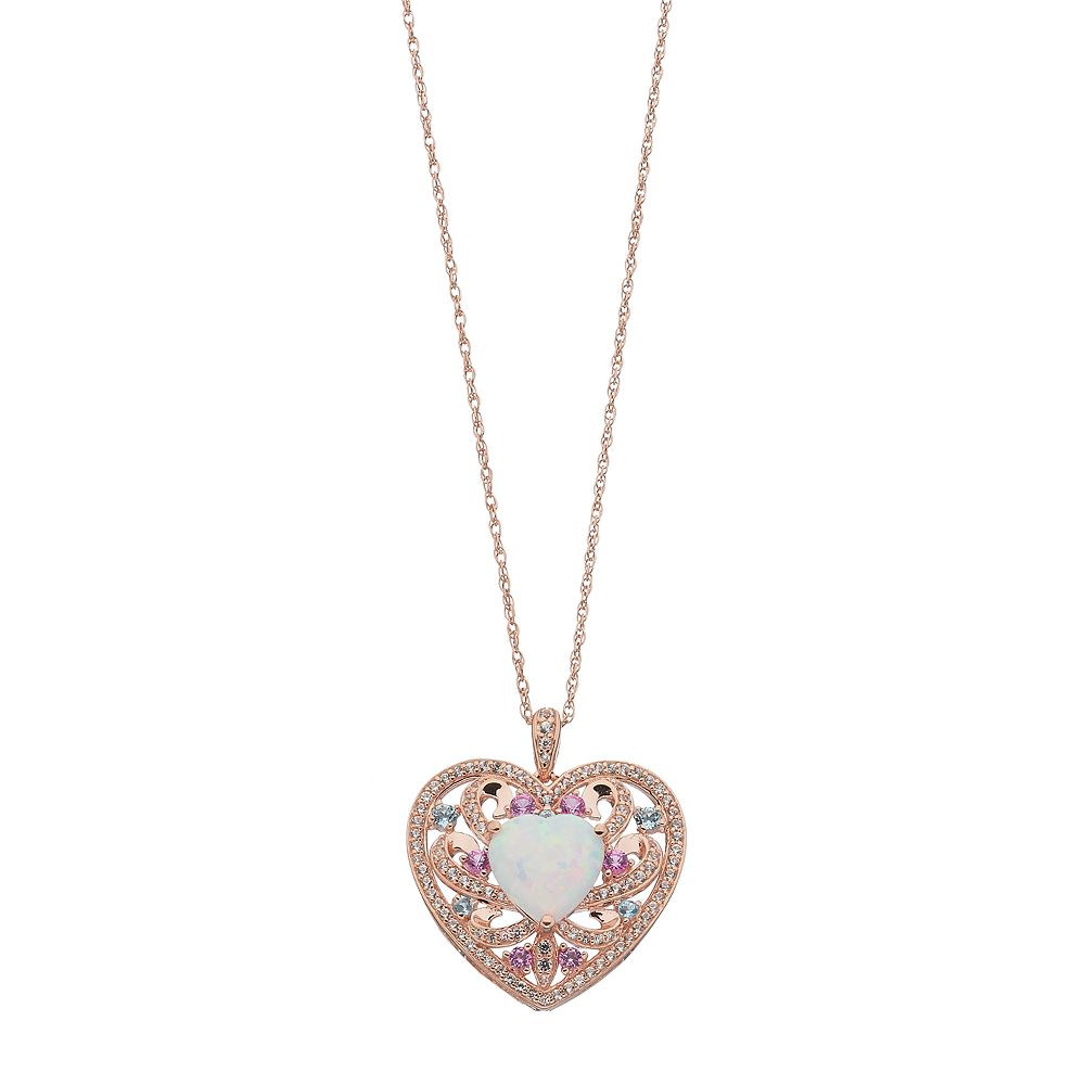 14k rose gold over silver lab created opal heart pendant necklace aloadofball Choice Image