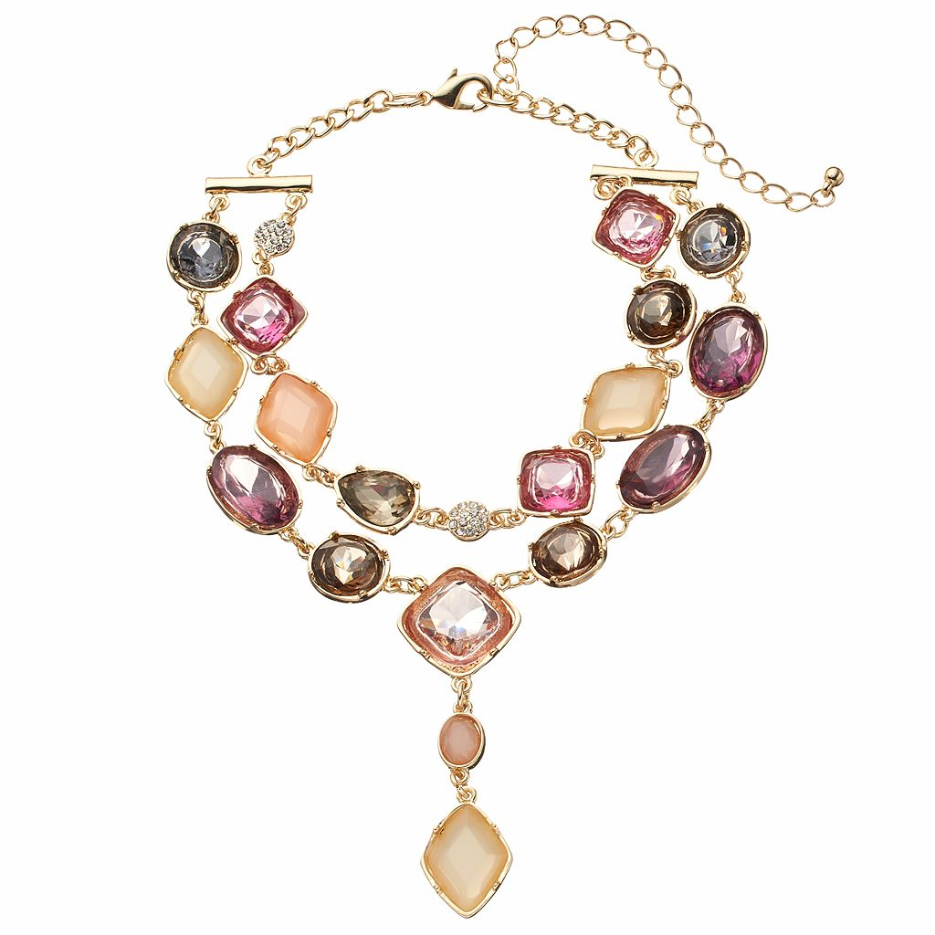 Geometric Stone Double Strand Choker Necklace