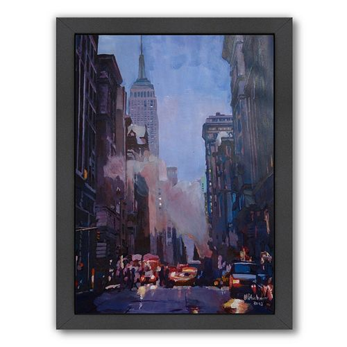 Americanflat ''NY Street Scene Empire State Building 2'' Framed Wall Art
