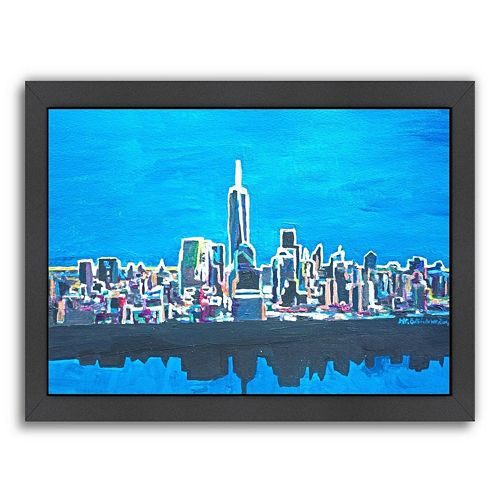 Americanflat ''NYC WTC 1 Shimmering Skyline'' Framed Wall Art