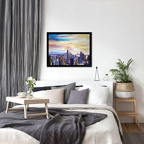 Americanflat ''NYC Panorama with WTC Chrysler Empire State'' Framed Wall Art