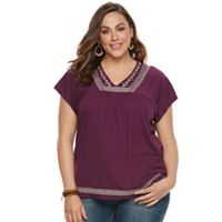 Plus Size SONOMA Goods for Life™ Embroidered V-Neck Top