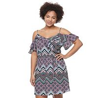 Juniors' Plus Size Candie's® Print Ruffle Cold-Shoulder Dress
