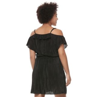 Juniors' Plus Size Candie's® Ruffle Cold Shoulder Dress