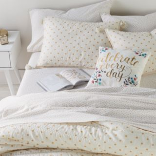 LC Lauren Conrad Emma Metallic Dot Quilt Set