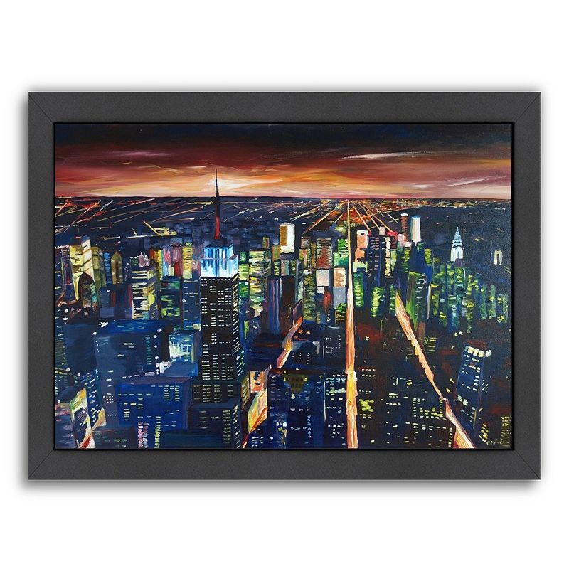 Americanflat ''Empire State Building - New York City Night 2'' Framed Wall Art, Medium