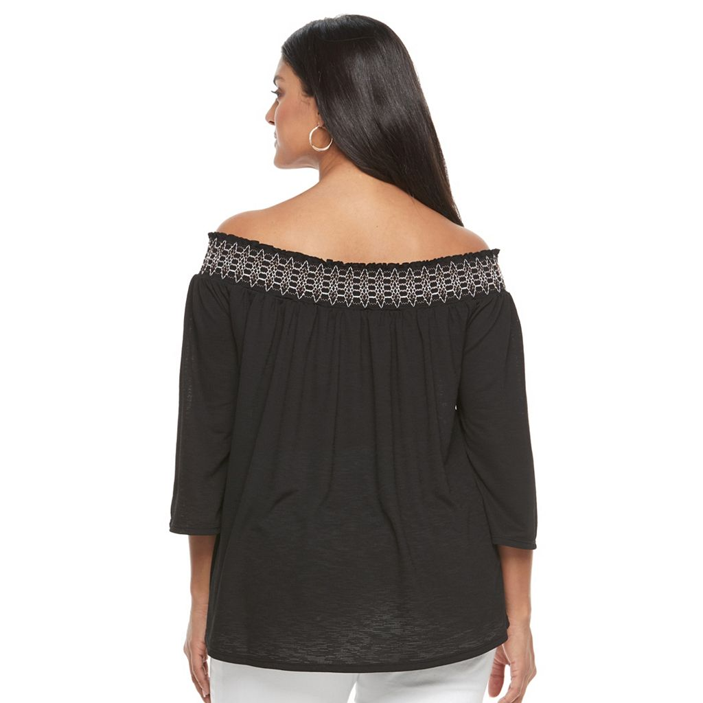 Plus Size Apt. 9 Smocked Off-the-Shoulder Top