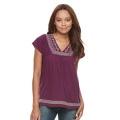 Petite SONOMA Goods for Life™ Embroidered V-Neck Top