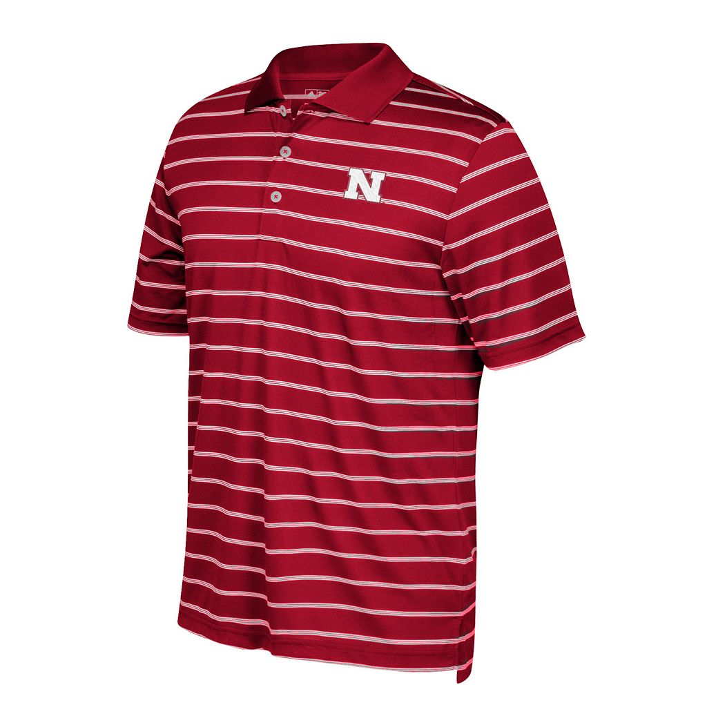 Men's adidas Nebraska Cornhuskers Striped Golf Polo