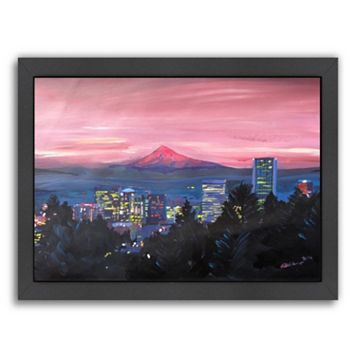 Americanflat ''Portland OR Mt Hood Red'' Framed Wall Art