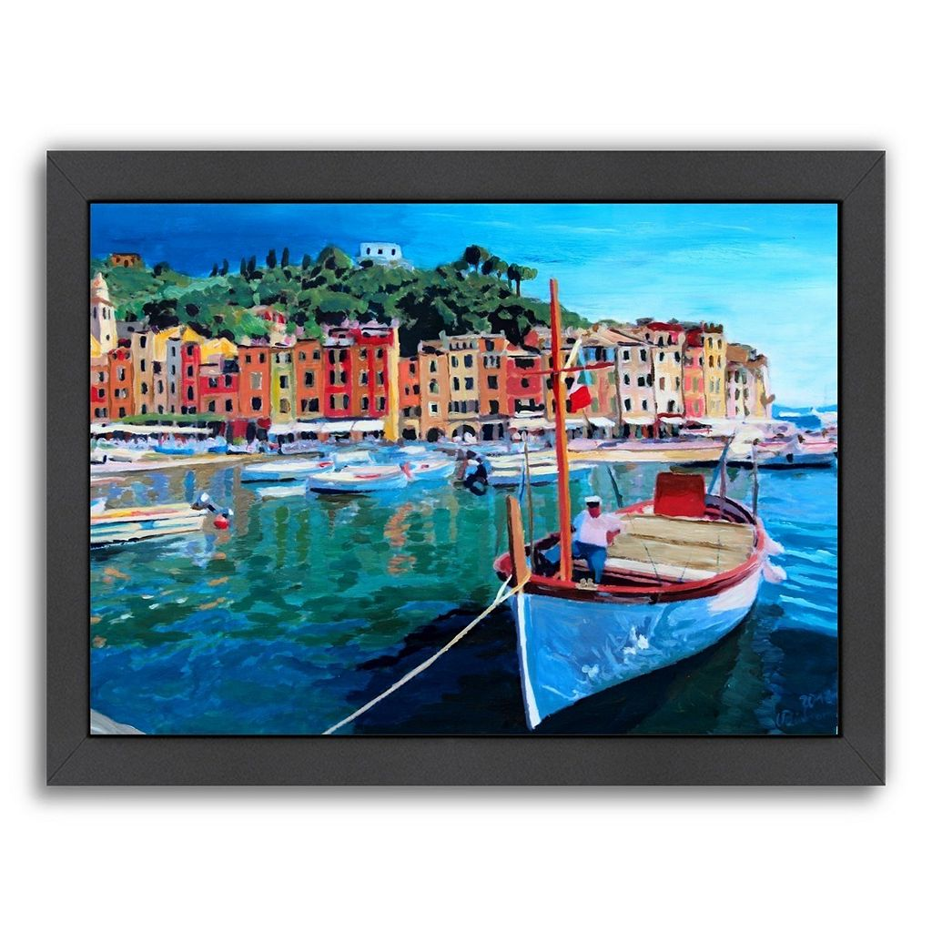 Americanflat ''Portofino Tranquility Italy'' Framed Wall Art