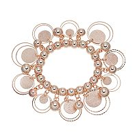 Bead & Glittery Disc Stretch Bracelet