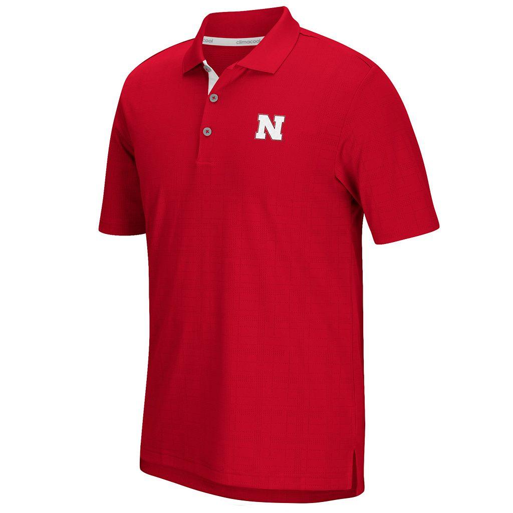 Men's adidas Nebraska Cornhuskers Textured Golf Polo
