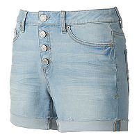 Juniors' Mudd® FLX Stretch High-Rise 4-Button Midi Jean Shorts