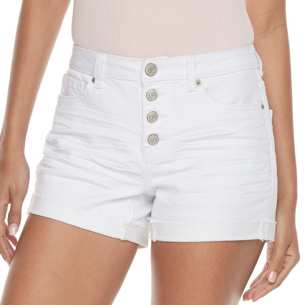 Mudd® FLX Stretch High-Rise 4-Button Midi Jean Shorts
