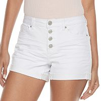 Juniors' Mudd® FLX Stretch High-Rise 4-Button Midi Jean Shorts