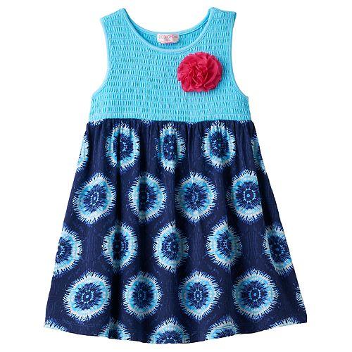 Toddler Girl Design 365 Smocked Bodice Tie-Dye Dress